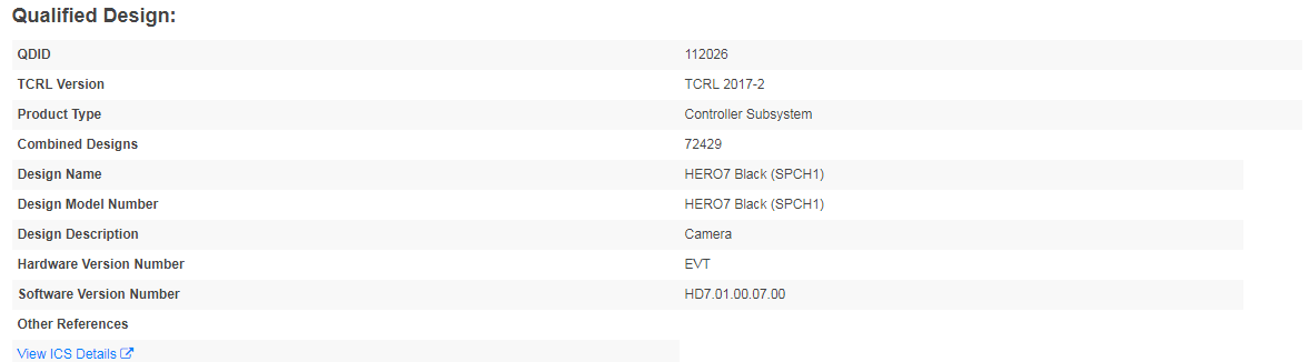 GoPro HERO7 Blackの登録情報2