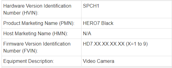 GoPro HERO7 Blackの登録情報1